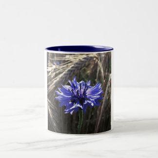Blue Flower in Grain Two-Tone Coffee Mug