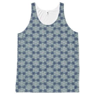 Blue flower kaleidoscope pattern tank top