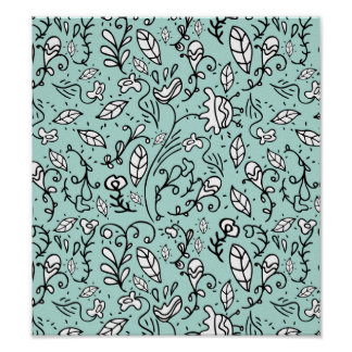 Blue Flower Lace Poster