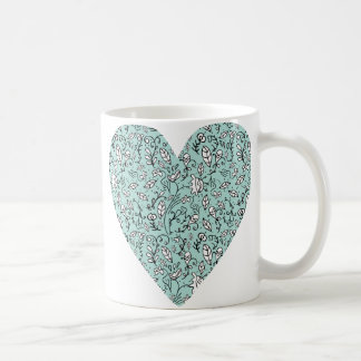 Blue Flower Love Heart Mug