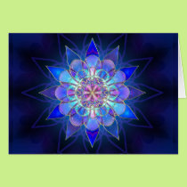 Blue Flower Mandala Fractal Card