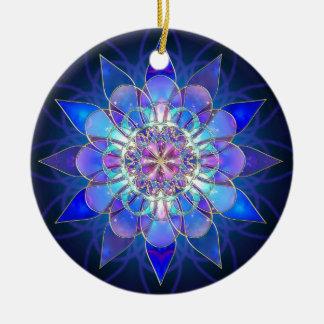 Blue Flower Mandala Fractal Ceramic Ornament