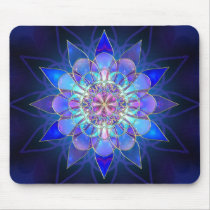 Blue Flower Mandala Fractal Mouse Pad