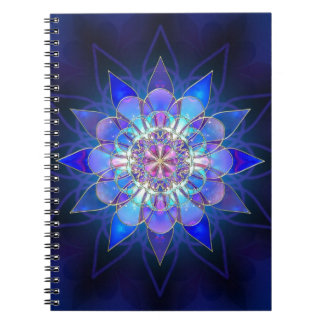 Blue Flower Mandala Fractal Notebook