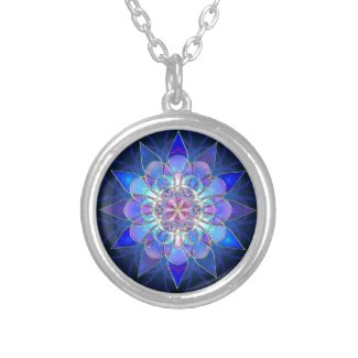Blue Flower Mandala Fractal Round Pendant Necklace