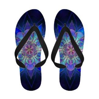 Blue Flower Mandala Fractal Sandals