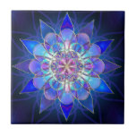 Blue Flower Mandala Fractal Small Square Tile