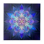 Blue Flower Mandala Fractal Tile<br><div class='desc'>A blue and purple flower mandala fractal pattern.</div>
