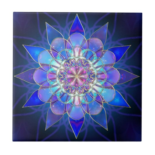 Blue Flower Mandala Fractal Tile Zazzle Com
