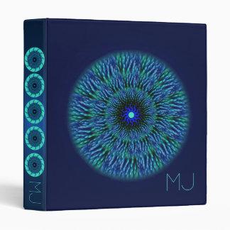 "Blue Flower Mandala Monogram 1"" Binder"