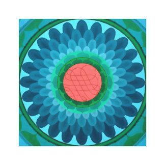 Blue flower Mandala on canvas Canvas Print