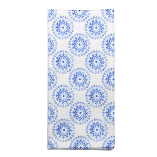 Blue Flower Mandalas Round Motif Design 1 + add Cloth Napkin