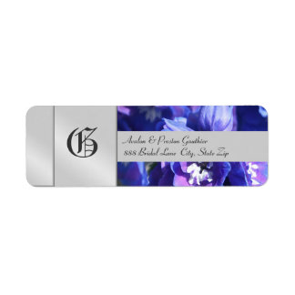 Blue Flower Monogram Silver Wedding Address Label