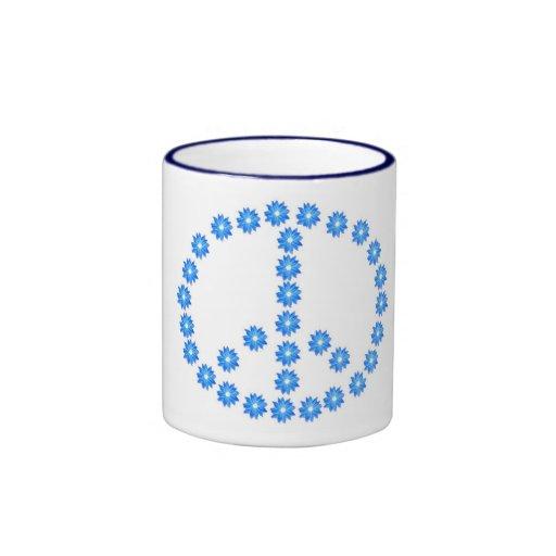 Blue Flower Neon Peace Sign coffee mug