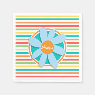 Blue Flower on Bright Rainbow Stripes Disposable Napkins