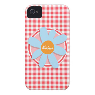 Blue Flower on Red and White Gingham iPhone 4 Case-Mate Cases