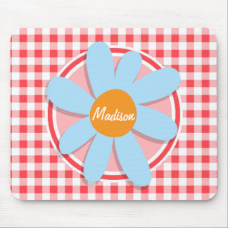 Blue Flower on Red and White Gingham Mouse Pad