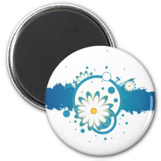 Blue Flower Paint Splash Magnet