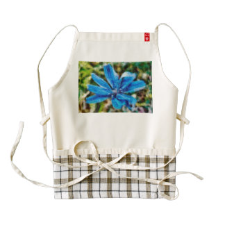 Blue flower painting zazzle HEART apron