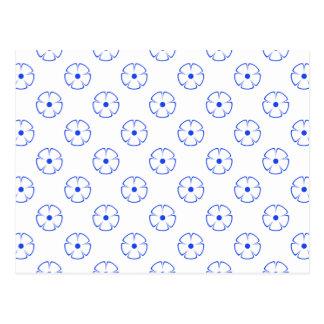 Blue Flower Pattern 1 Blue Postcard