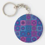 Blue Flower Pattern Key Chain