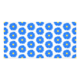 Blue Flower Pattern. Personalized Photo Card