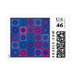 Blue Flower Pattern Postage Stamp