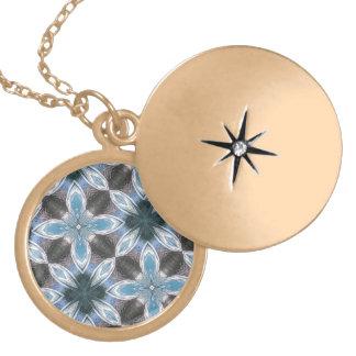 Blue Flower Pattern Round Locket Necklace