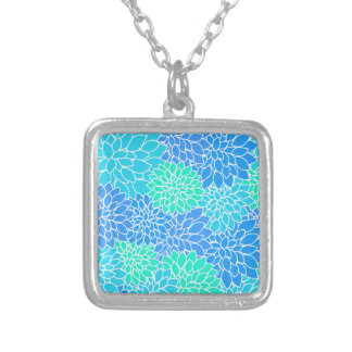 Blue Flower Pattern Silver Plated Necklace