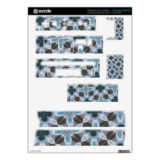 Blue Flower Pattern Wii Decals
