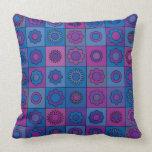 Blue Flower Pattern Throw Pillows