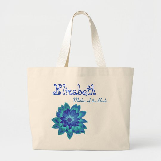 Blue Flower Personalized Mother of the Bride Large Tote Bag