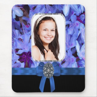 Blue flower personalized photo mouse pad