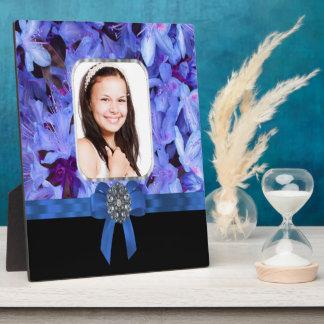 Blue flower personalized photo plaque