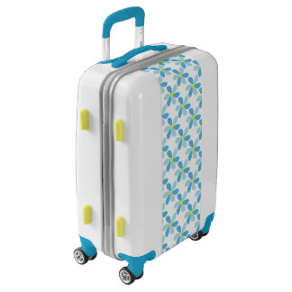Blue Flower Petals Yellow Center Luggage