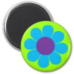Blue Flower Power 2 Inch Round Magnet