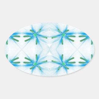Blue Flower Power Pattern Oval Sticker