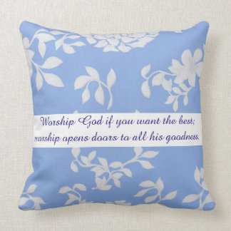 Blue Flower Psalm 34:9 Decorative Designer Pillow