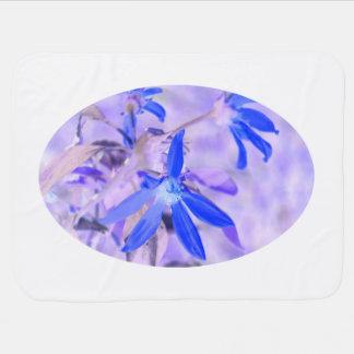 blue flower purple back invert baby blanket
