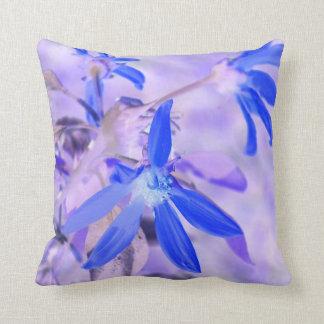 blue flower purple back invert throw pillow