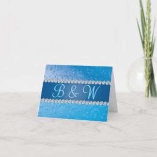 Blue Flower Retro Embossed Anniversary Monogram Note Card