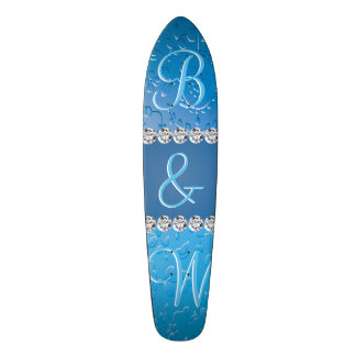 Blue Flower Retro Embossed Anniversary Monogram Skateboard