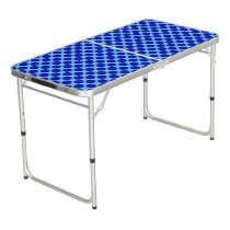 Blue Flower Ribbon Beer Pong Table