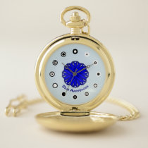 Blue Flower Ribbon (Bf) by K Yoncich Pocket Watch