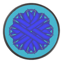 Blue Flower Ribbon by Kenneth Yoncich Hockey Puck