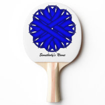 Blue Flower Ribbon by Kenneth Yoncich Ping Pong Paddle