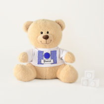 Blue Flower Ribbon by Kenneth Yoncich Teddy Bear