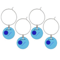 Blue Flower Ribbon by Kenneth Yoncich Wine Glass Charm