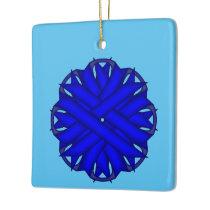Blue Flower Ribbon Ceramic Ornament