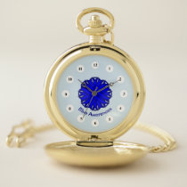 Blue Flower Ribbon (Cf) by K Yoncich Pocket Watch